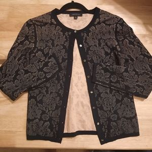 2/$23 Ann Taylor Black and Nude Lace Cardigan